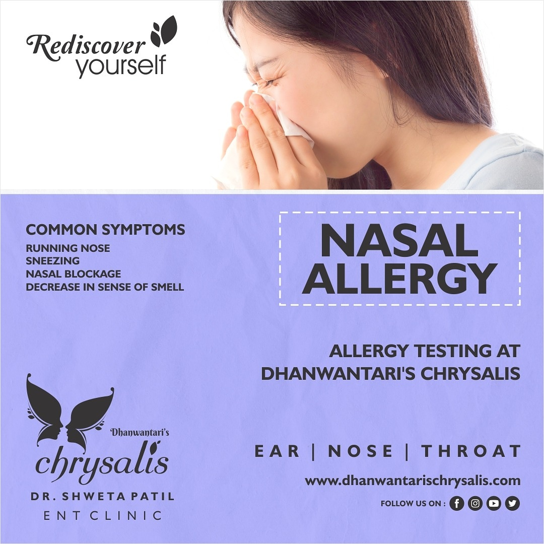 Nasal Allergy- Common Symptoms Running nose Sneezing Nasal blockage Decrease in sense of smell  Allergy Testing at  Dhanwantaris Chrysalis ENT Clinic  Visit us at https://t.co/qOKJPpMiKT  #chrysalis #ent #entclinic #nasalallergy #pune #india #allergytesting #visitclinictoday https://t.co/MVPZ3RRy3M