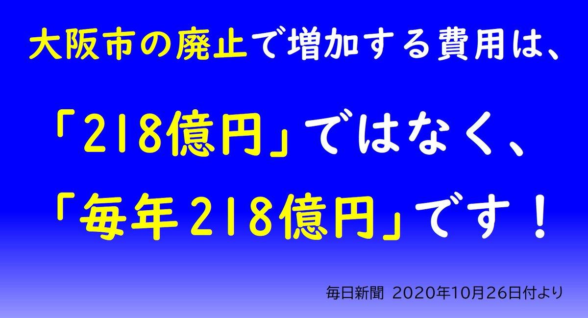 大阪市の廃止によって増加する費用は、「218億円」ではなく「毎年218億円」です。10年間で2180億円です。財政を破滅させる「都構想(大阪市の廃止)」はリスクが大きすぎます。   ★記事⇒   #大阪市廃止反対