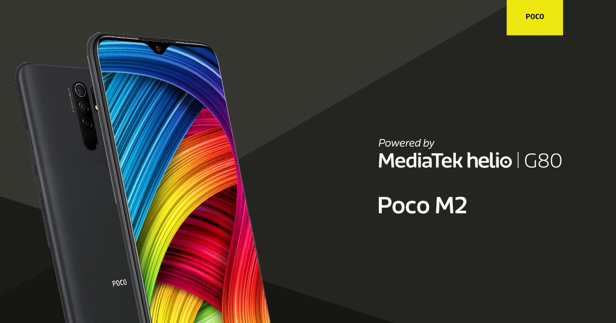 Check out the Xiaomi Poco M2 #poweredbyMediaTek Helio G80 gaming processor, featuring MediaTek HyperEngine game technology for exciting gaming & sustained performance. It comes w/ a 48MP quad-camera setup & a 16MP selfie camera for incredible photography experience. #MediaTek https://t.co/tTTH8CbMmr