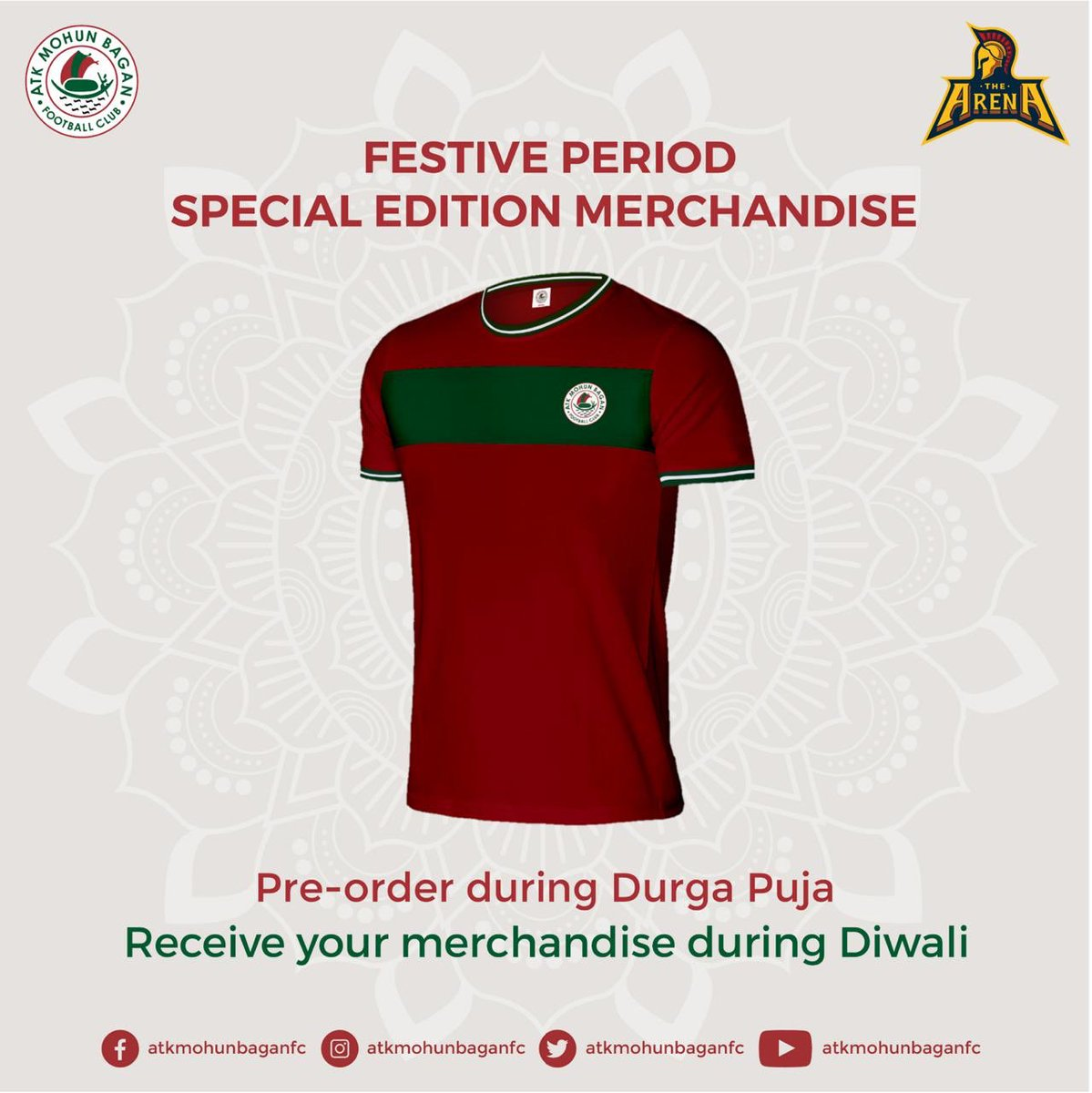 Dear #Mariners, on this auspicious day, we are adding more style with Green & Maroon flavour to the ATK Mohun Bagan festive season collection exclusively on Shop The Arena ! 💚❤️ Head to https://t.co/GxUdqZ4wQv to pre-order yours now! 🤩😍  #ATKMohunBagan #JoyMohunBagan https://t.co/8xQsGRNb8C