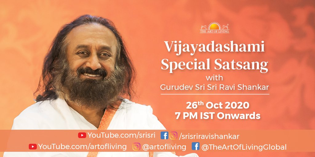 Join us for a #Dussehra special Satsang with Gurudev @SriSri tonight! Tune in at 7 PM IST: https://t.co/r3wvs5qqYx https://t.co/ez9FQcG4fe