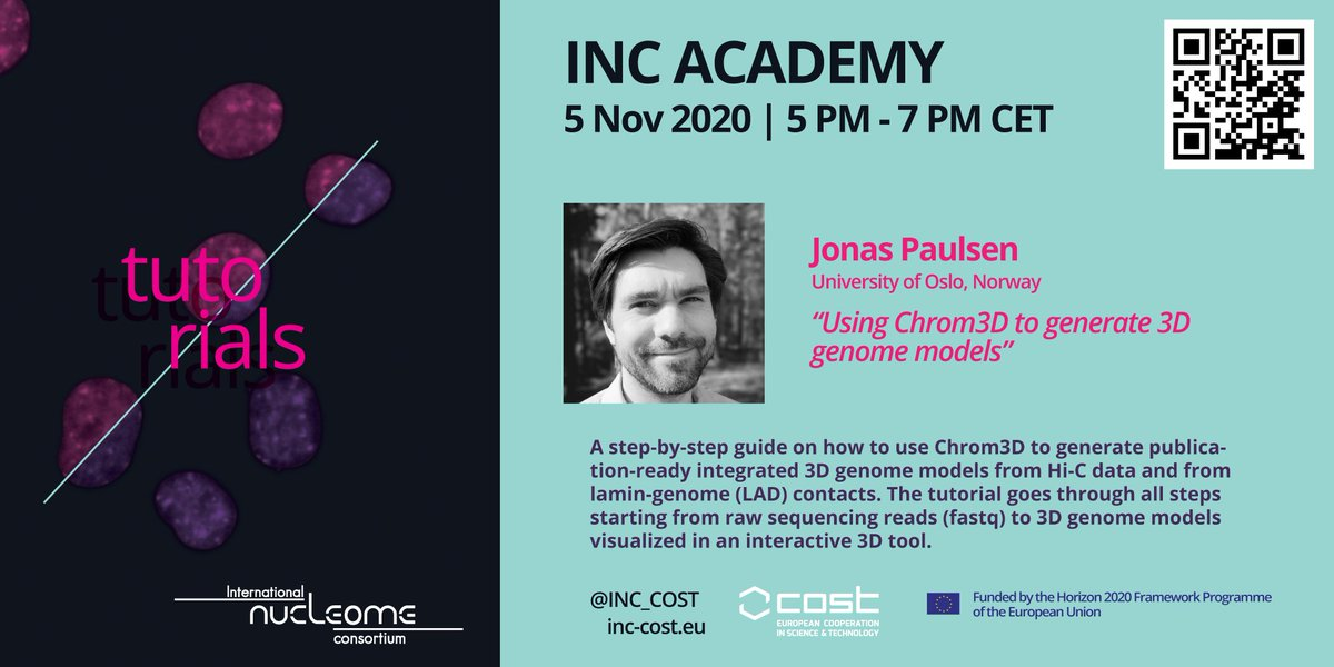 Want to learn how to generate 3D genome models starting from raw sequence reads? Register for free hands-on tutorial by Jonas Paulsen (@jonnings) that we organise in the frame of INC Academy (https://t.co/fI9VOjUJAL) on Nov 5, 2020. Hurry up, limited number of places! #INCacademy