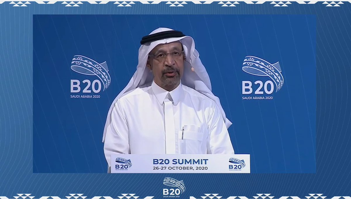 On behalf of His Majesty King Salman bin Abdulaziz, His Excellency Minister of Investment, Khalid Al-Falih, spoke of @G20org's commitment to 'realizing opportunities of the 21st century for all' & strengthening collaboration to address challenges posed by the #pandemic.#B20Summit https://t.co/lu5mzy5iPr