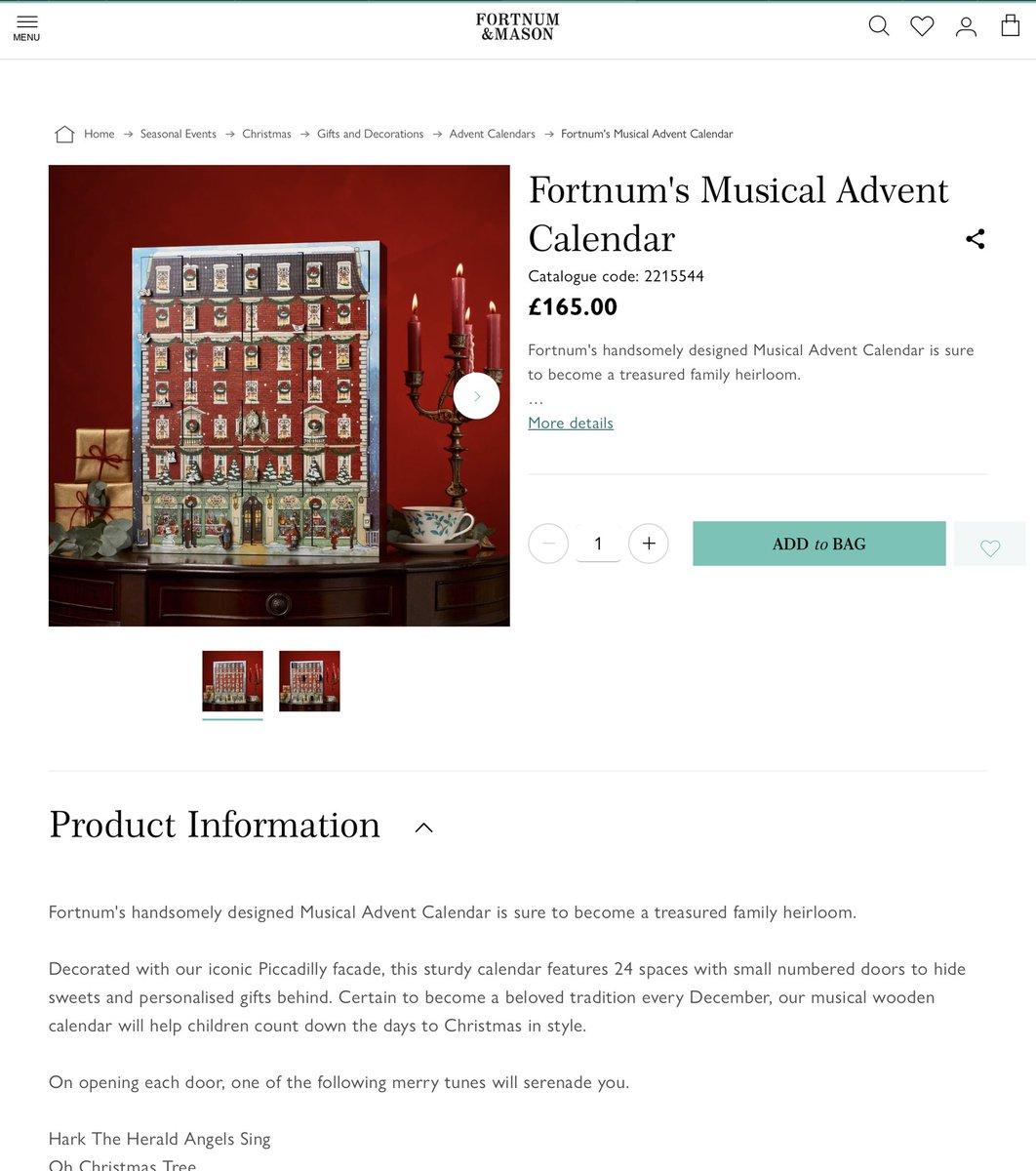 フォートナム&メイソンのアドベントカレンダーに至っては、もう可愛いと思ったらお値段が😱音楽が鳴るそうです。