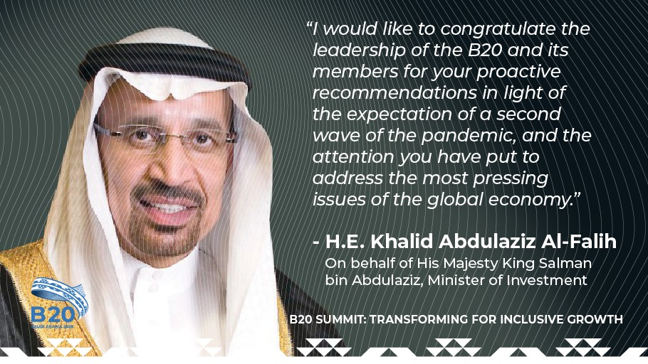 During the Inaugural Session at the #B20Summit, on behalf of His Majesty King Salman bin Abdulaziz, His Excellency Minister of Investment, Khalid Al-Falih lauded @B20's work to transform society & the global #economy through inclusive growth. @g20org #B20SaudiArabia https://t.co/vr0oqVNdc8