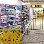 Image for the Tweet beginning: Tesco blocks off supermarket aisle