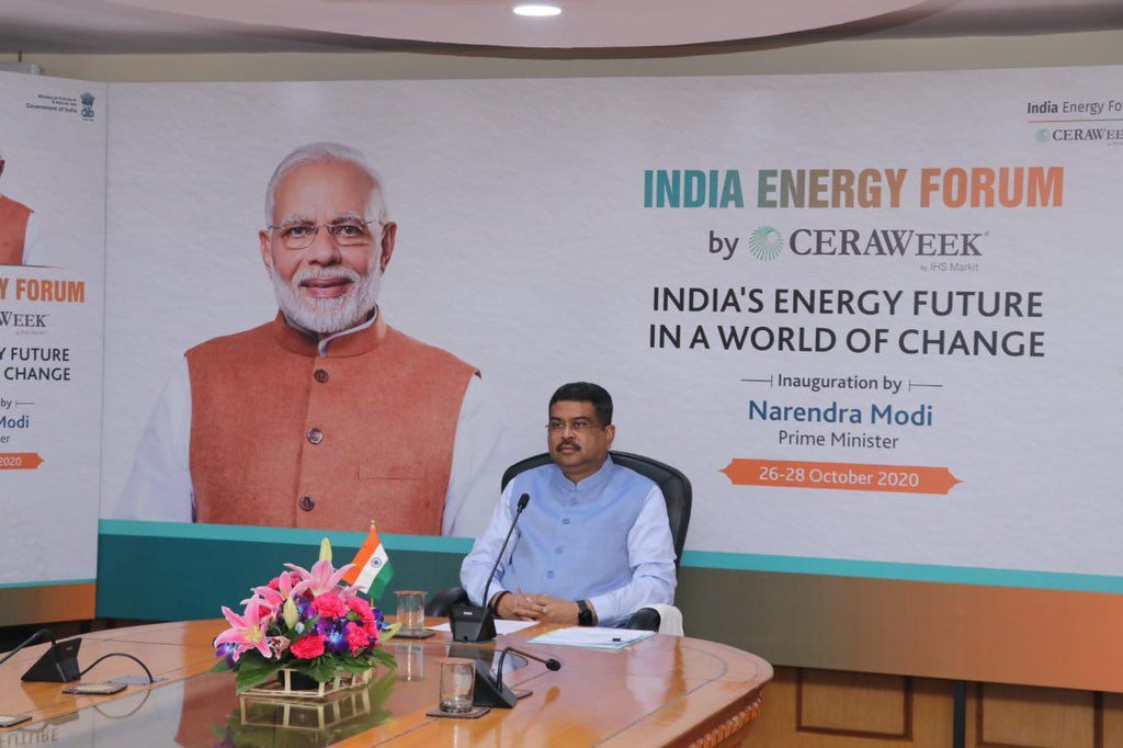 Under the decisive and visionary leadership of Hon. PM @narendramodi ji, we are making concerted efforts and taking all necessary steps to make the energy sector fuel India's economic growth during and in the post-Covid period. #PMAtCeraWeek #IndiaEnergyForum  #CERAWeek https://t.co/Ns3h343huy