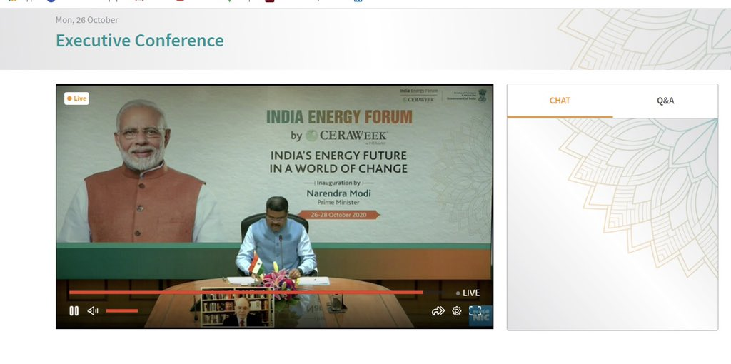 I am confident that the #IndiaEnergyForum will provide a unique platform for the Indian energy sector for engaging with global players to develop new insights and a better way forward for India's energy sector in the fast changing global energy landscape. #PMAtCeraWeek  #CERAWeek https://t.co/A9RfYfL2ic