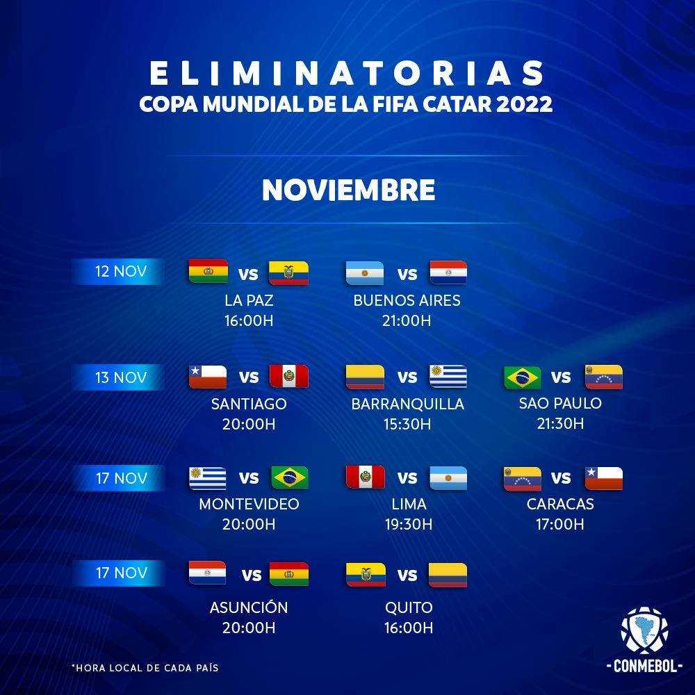 Horarios confirmados para las fechas 3⃣ y 4⃣ de las #EliminatoriasSudamericanas 🙌🏆  💻https://t.co/MdCCn4rYKN https://t.co/SMB68vKRgl