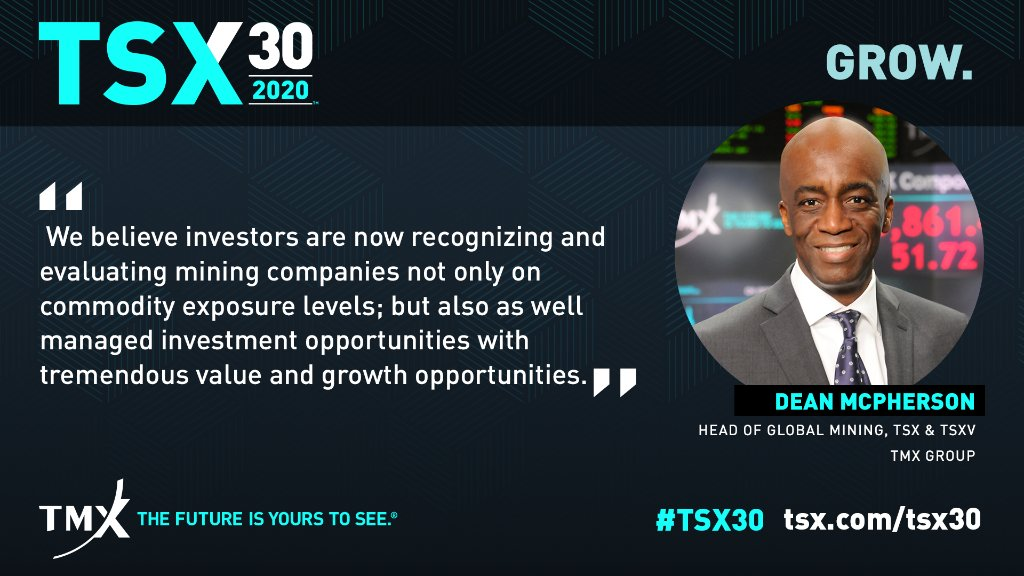 #TSX30 provides investors with another window into important market trends.  With 14 #mining companies on this year's list, Dean McPherson, Head of Global Mining at TSX & TSXV, breaks down the growth opportunities from the sector: https://t.co/cJB5fiUEwH https://t.co/IkWlm8NXl8