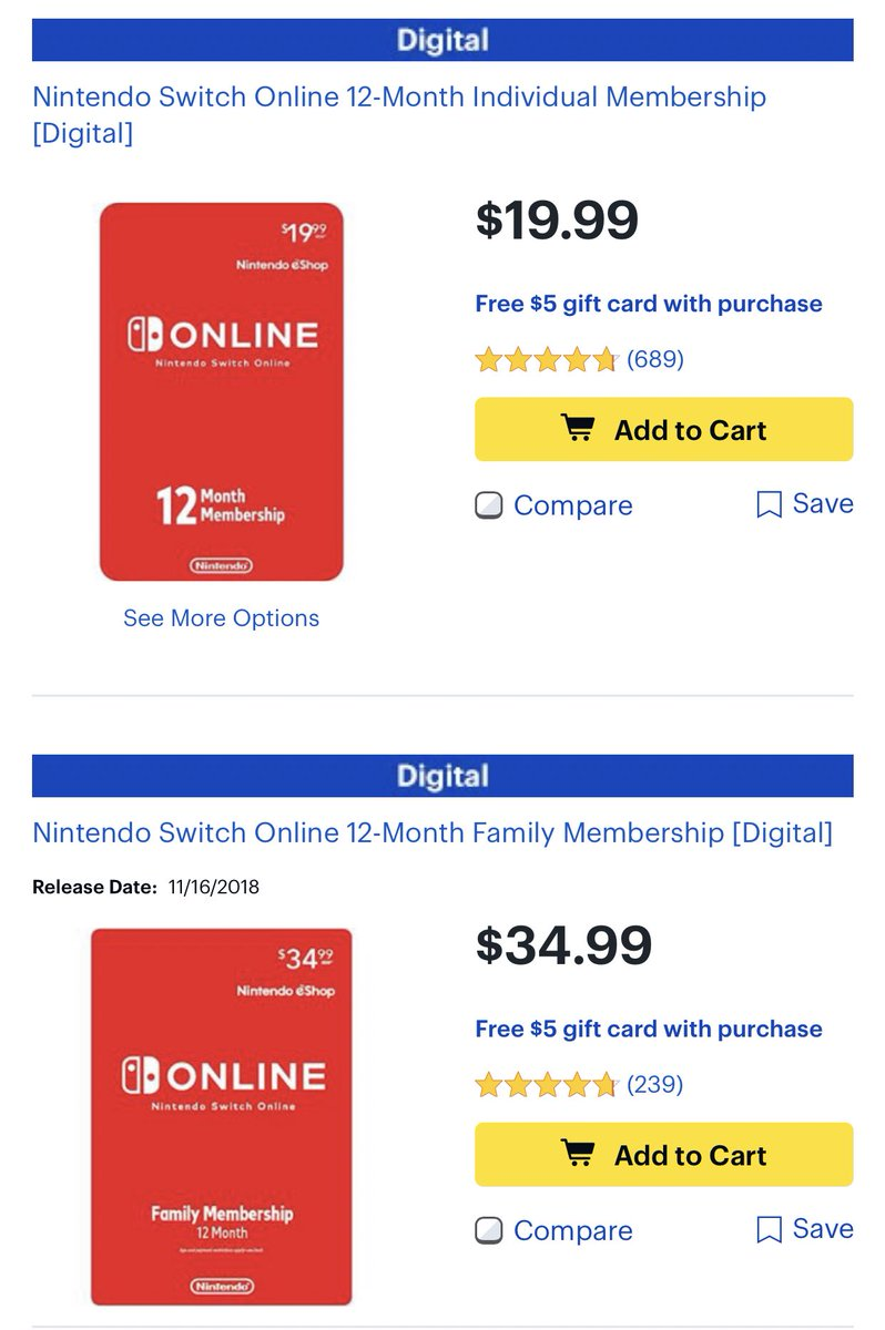 Cart Games On Twitter Bestbuy Has Nso Subscriptions With A 5 Best Buy Gift Card Today Https T Co Ppi5aosbma
