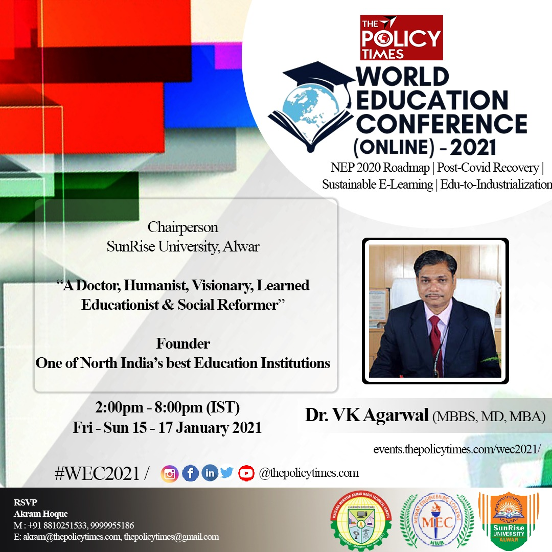 Meet *Dr VK Agarwal, a Doctor, Humanist, Visionary* & *Learned Educationist* who will interact with educators at the *