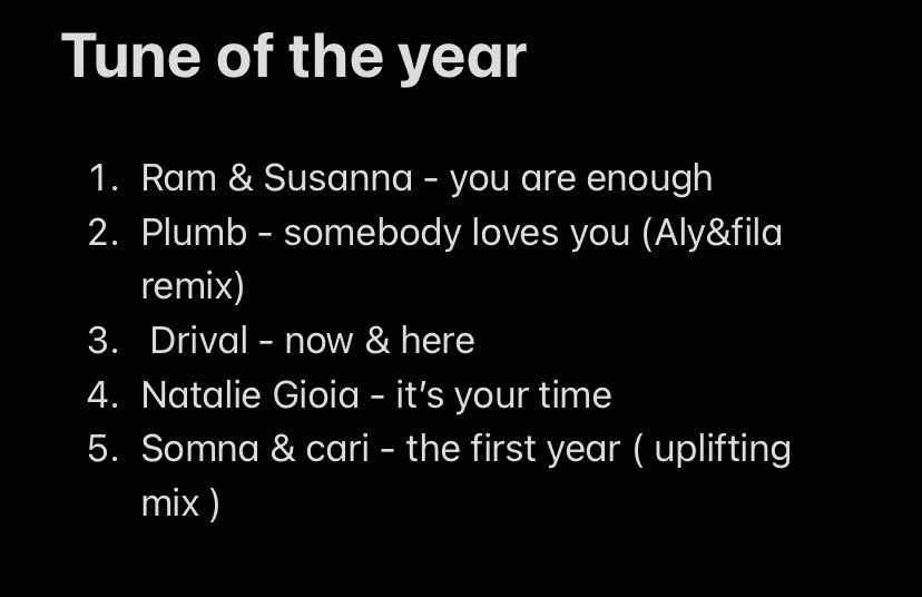 Not doing tune of the year because The bottom 3 arnt on the list and @DrivalDJ @nataliegioia and @somnamusic should all be in there..... @asot first year I've not voted https://t.co/xMiAPkhizY