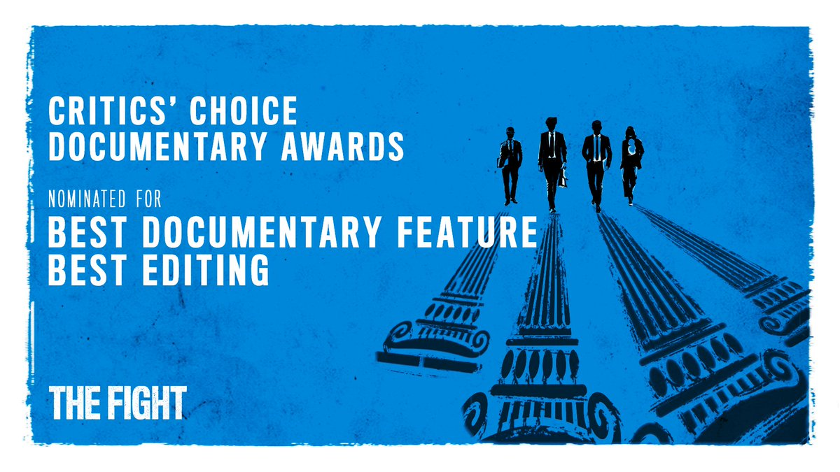 #TheFightMovie has been nominated for Best Documentary Feature and Best Editing by the @CriticsChoice Documentary Awards!