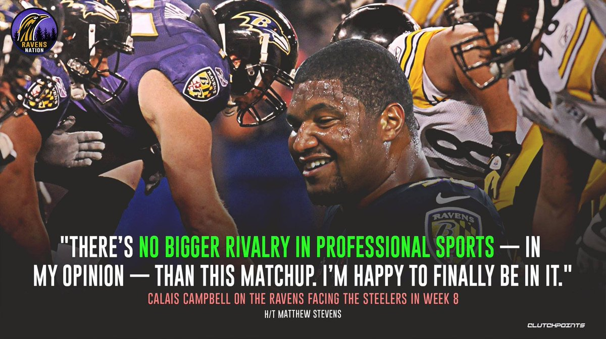 Will Calais Campbell have a memorable first taste of the Ravens-Steelers rivalry? 👀 https://t.co/twFFr69XmA