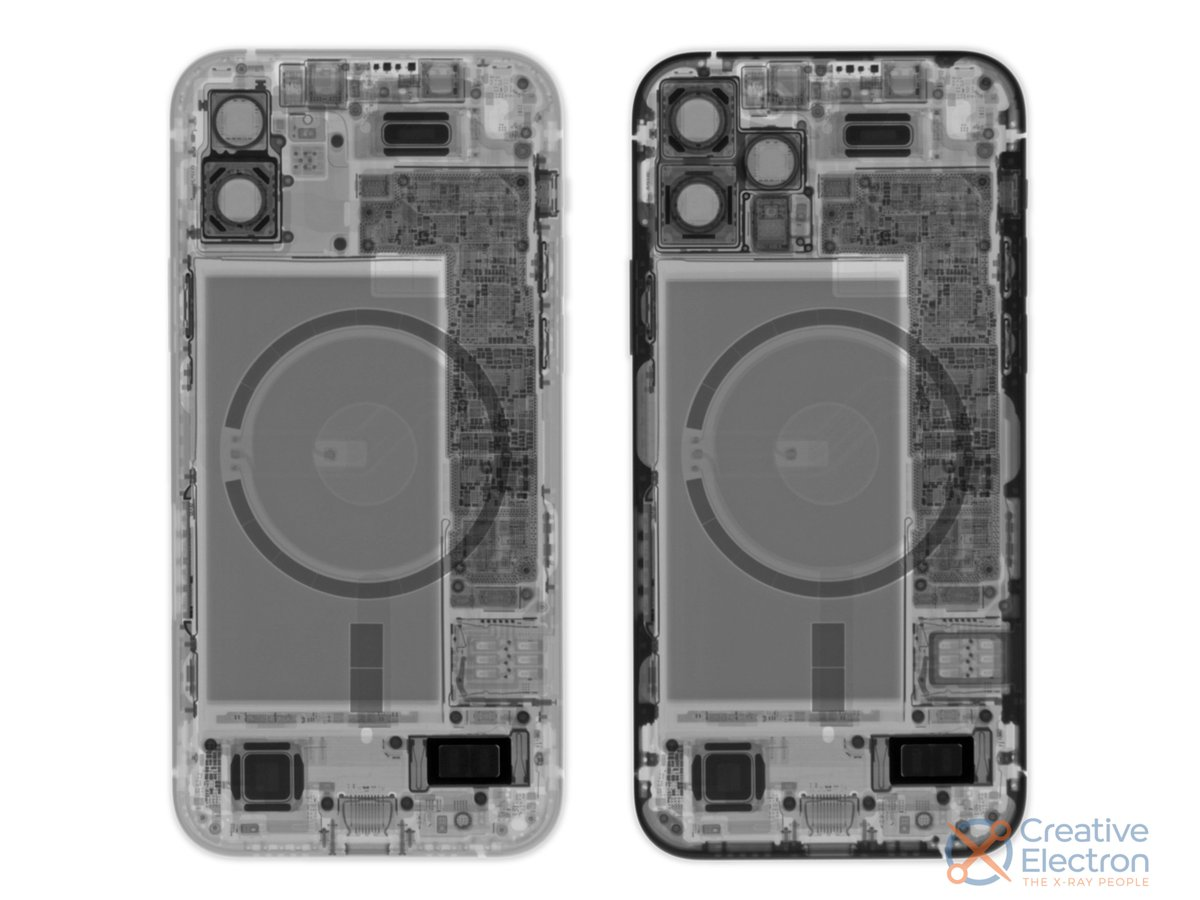 At least the iPhone 12's new 5G digs didn't mess with Apple's tried-and-true screen and battery repair procedures (featuring X-rays from @CreativeElctrn): https://t.co/h10mUXFo78 https://t.co/VCKqNjiolb