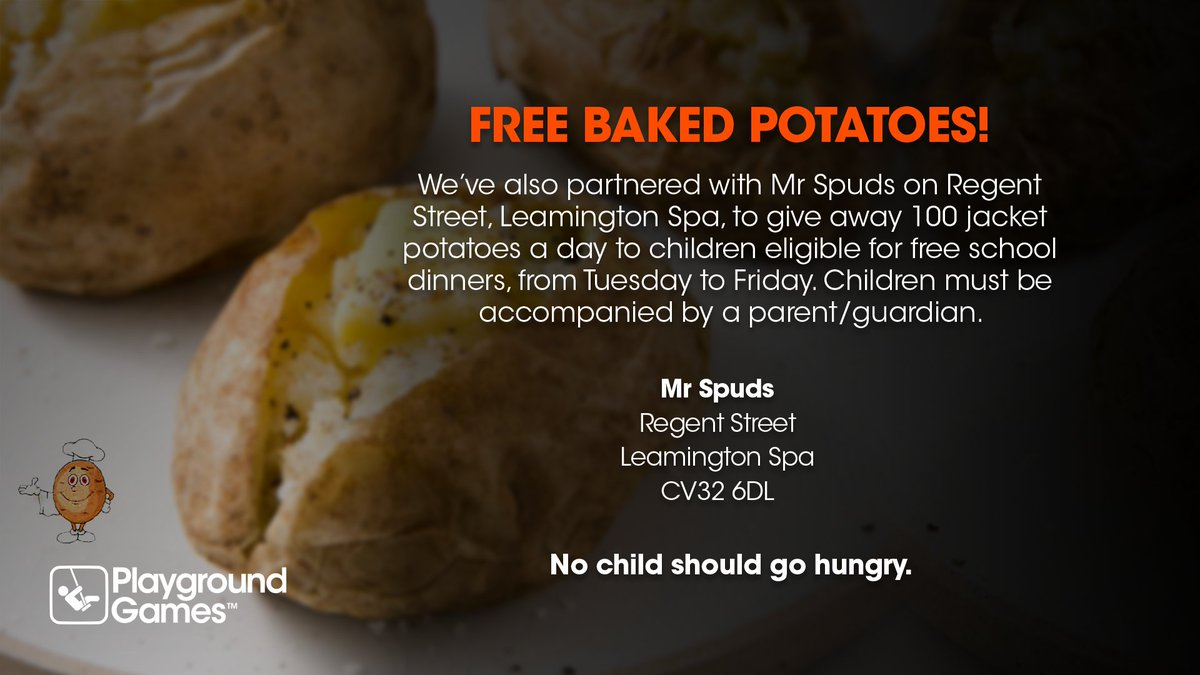 FREE BAKED POTATOES! We've also partnered with Mr Spud on The Parade, Leamington Spa, to give away 100 baked potatoes a day to children eligible for free school dinners, from Tuesday to Friday. Full details below. 👇 #endchildfoodpoverty #nochildshouldgohungry https://t.co/AjG6rsggTl