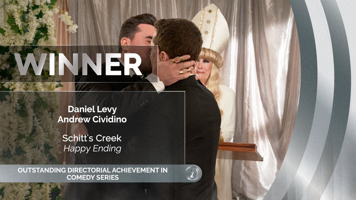 They swept the #Emmys and won two for two at the #DGCAwards. Watch above as Dan Levy and Andrew Cividino accept the Outstanding Directorial Achievement in Comedy Series award for the #SchittsCreek finale. https://t.co/ov2J6PAuTf
