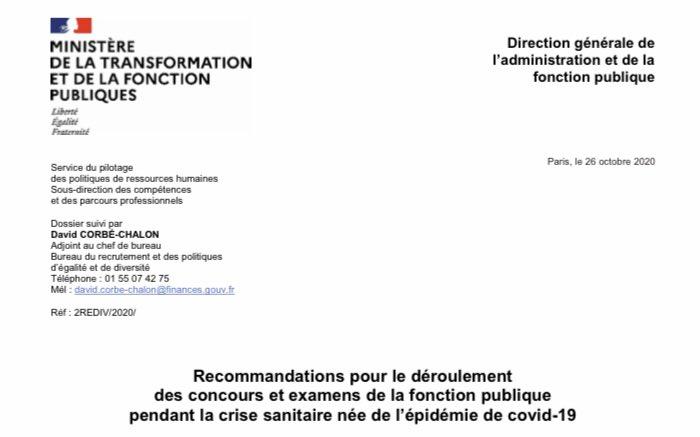 La @dgafp émet de nouvelles recommandations sur le déroulement des concours et examens de la #FonctionPublique. La dérogation au port du #masque dont bénéficiaient les candidats aux examens et concours lorsqu'ils étaient assis est supprimée https://t.co/OsSXxrqS84 😷 #COVID19 https://t.co/FJs6kINXBP https://t.co/kWG0VnXNMM