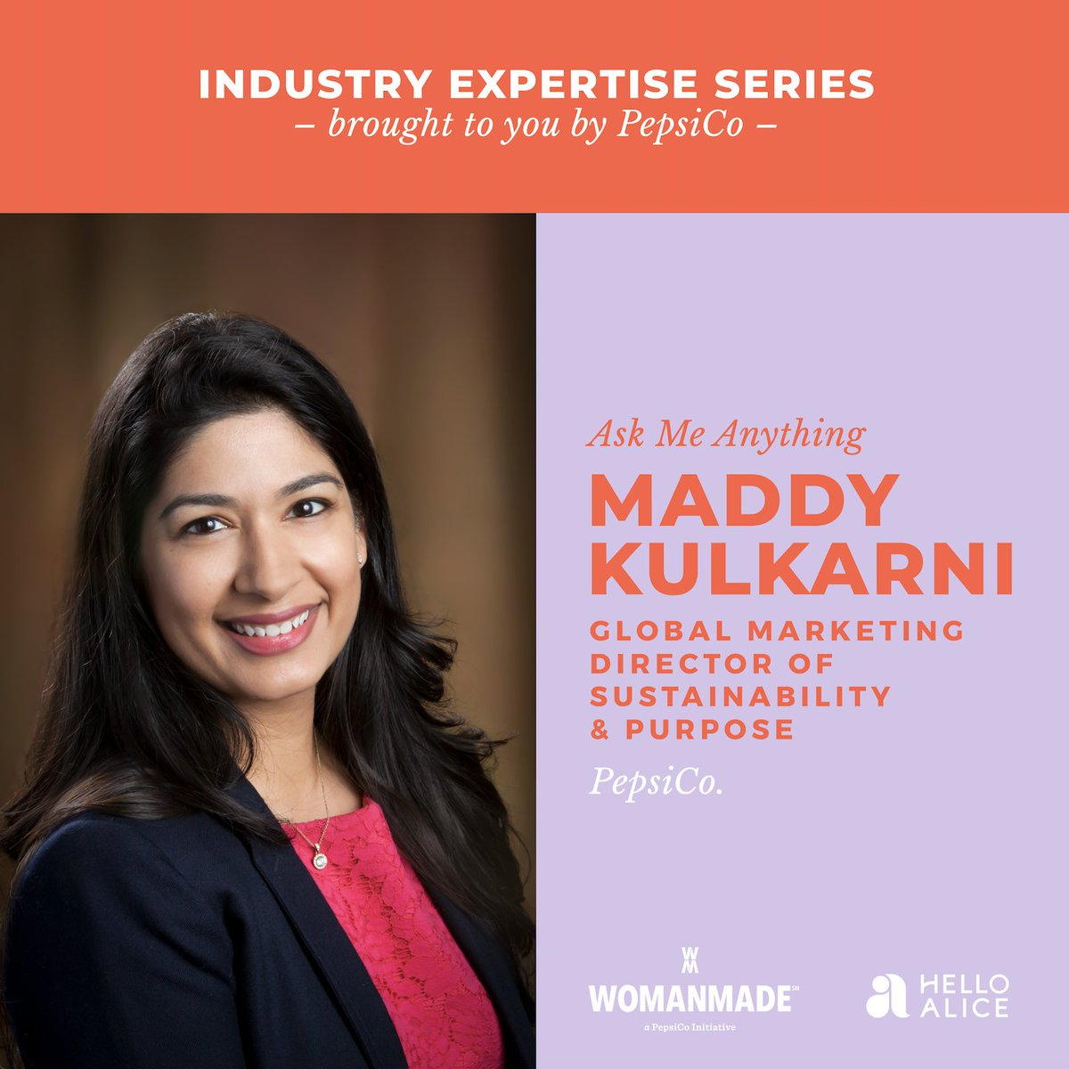 Happing this Friday! Join Maddy Kulkarni of @PepsiCo to discuss global impact and ways your business can giveback to the community. #WomenMade  The session kicks off October 30th at 11:30am PT. Register here: