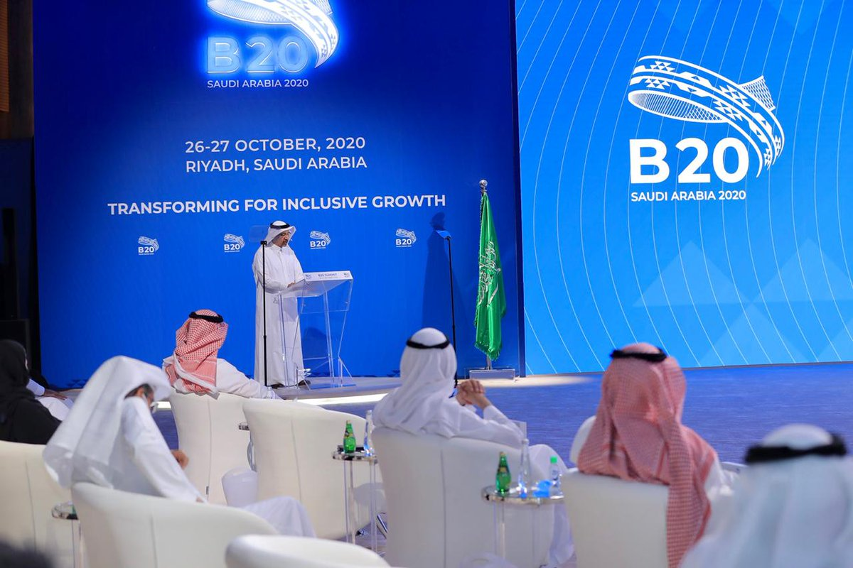 """""""Allow me to emphasize that most #B20 priorities are similar to the current Vision 2030 transformations in Saudi Arabia.""""  #MISA HE @Khalid_AlFalih made an address at the #B20Summit today on behalf of His Majesty King Salman bin Abdulaziz https://t.co/jGh5pgpimC"""