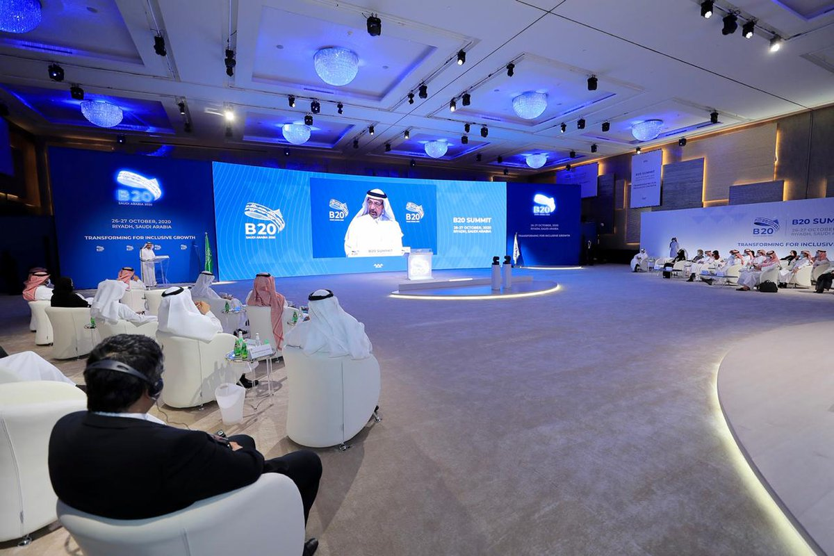 """His Excellency highlighted the #G20 priority of """"economic empowerment of youth and women"""" is pivotal to the Kingdom's future, along with """"safeguarding the planet"""" – an ambition at the core of KSA's Giga Projects such as @NEOM and @TheRedSeaGlobal https://t.co/NBku08lCOf"""