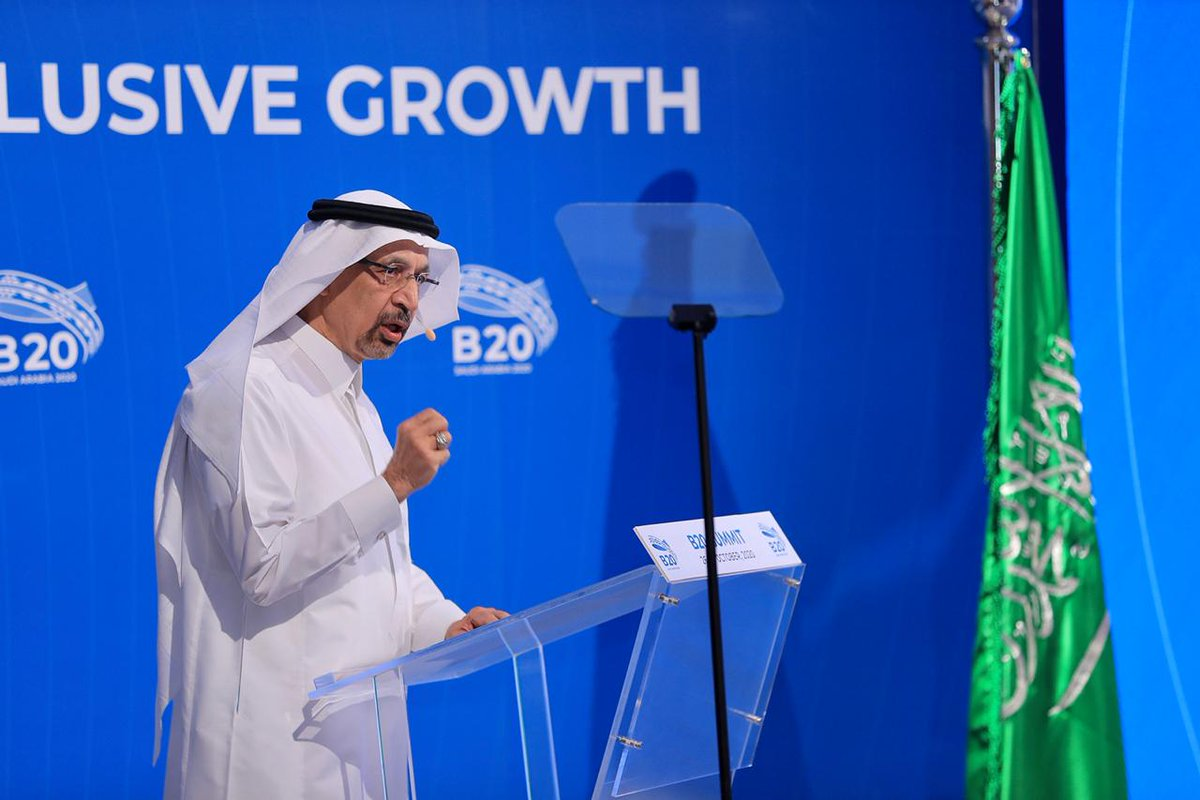 """""""Although we have faced extraordinary challenges the pandemic has demonstrated the resilience and strength of the Saudi economy.""""  Concluding his #B20 speech @Khalid_AlFalih reiterated the Kingdom's commitment to increasing growth through empowerment & investment in new sectors https://t.co/uIH1D8pOBP"""