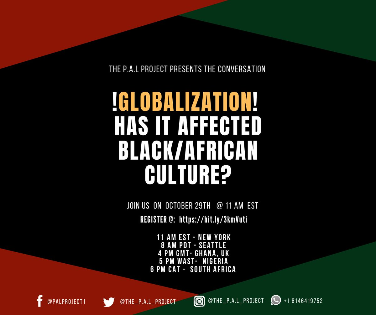 I'm going to be moderating a panel for @ThePALProject1  on Thursday! If you're interested in globalization and it's impact on black/african culture sign up https://t.co/3pu78Wz8Sm ! #culturalliteracy #africanculture https://t.co/bpaGcpchHf