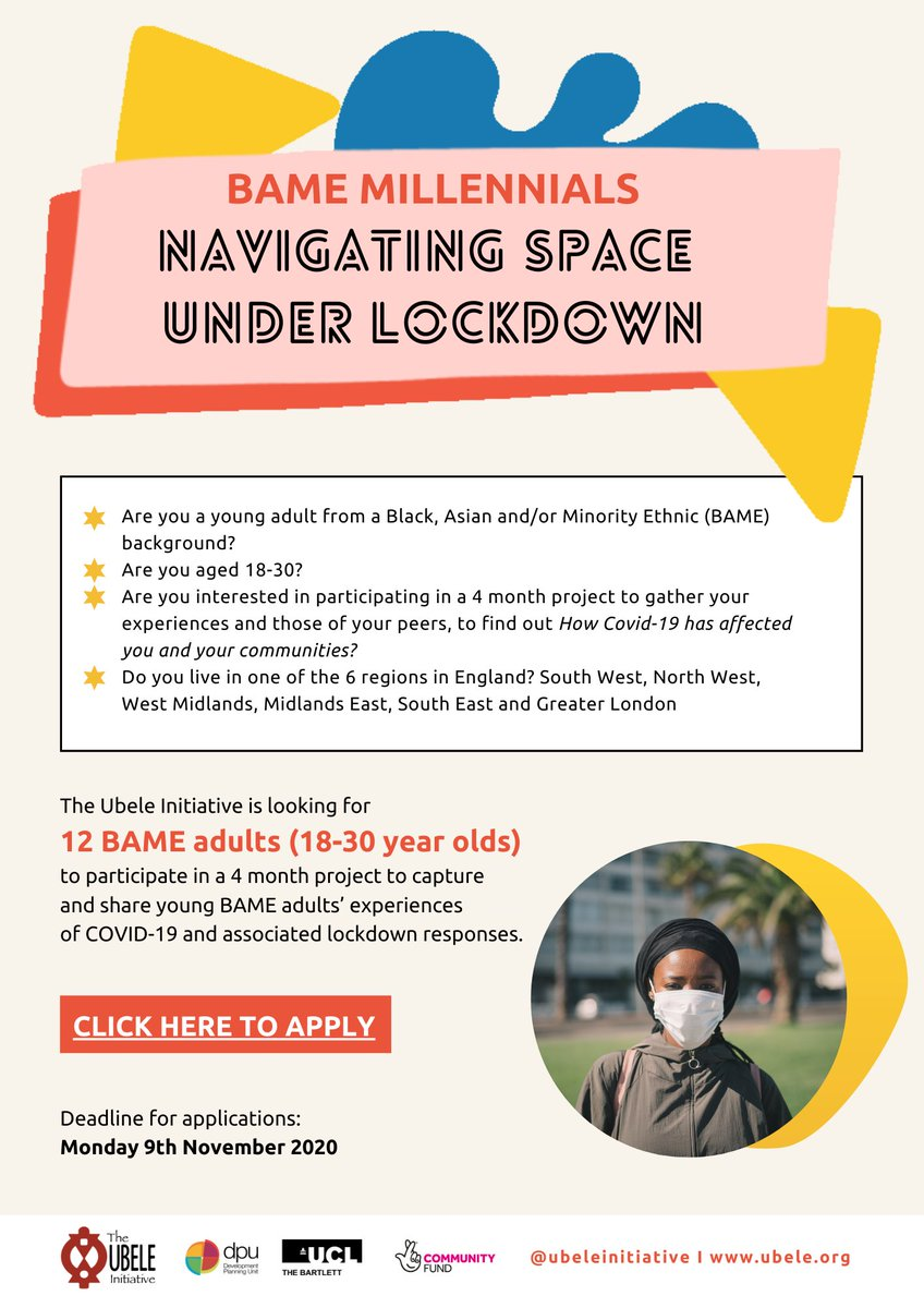 Are you a #youngperson between 18 and 30years? From a #Black #Asian or #minority background?  @ubeleinitiative would like to hear about your experiences of #COVID19 as part of a current project #youth #youngadult #YoungMentalHealth #youths #BlackYouth #AsianYouth #BAME https://t.co/gYgG5F16Mp