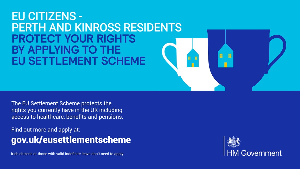 The European Union Settlement Scheme protects the rights EU citizens currently have in the UK including healthcare, benefits and pensions. If you are an EU citizen living in Perth and Kinross apply for settlement status as soon as possible. https://t.co/TMUQmIGgTg
