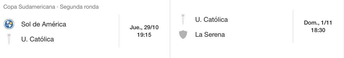 En otros temas: jueves 29 octubre, 19:15 hrs, partido de ida Sol de América vs Universidad Católica ⚪️🔵⚪️ 🇨🇱 #Sudamericana https://t.co/ccxVpxbPjG
