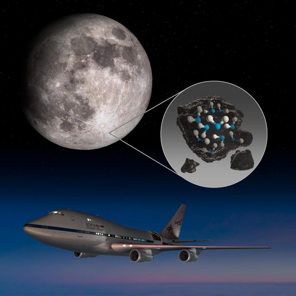 Our airborne observatory @SOFIATelescope offers a new way of looking at the Moon. ✈️ Mounted on a modified Boeing 747SP, SOFIAs infrared instruments picked up a chemical fingerprint unique to water, with surprising concentrations in the Clavius Crater. go.nasa.gov/3owOOLY