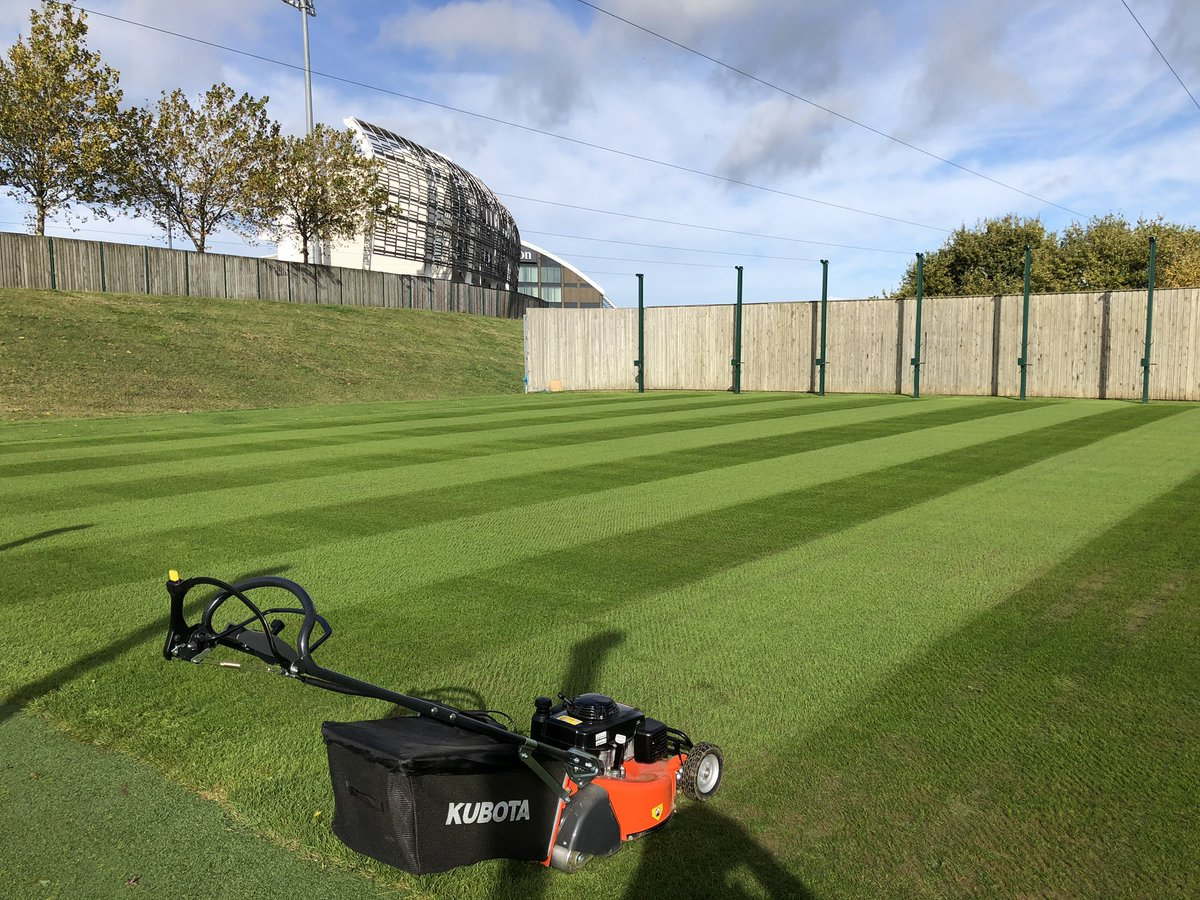 Three squares cut today with the @KubotaUK rotary on demo from @RodGaskinLtd impressive mower and very happy with the finish  @hantscricket @TheAgeasBowl #kubota #hampshire #cricket #ageasbowl https://t.co/GDzZNAkXib