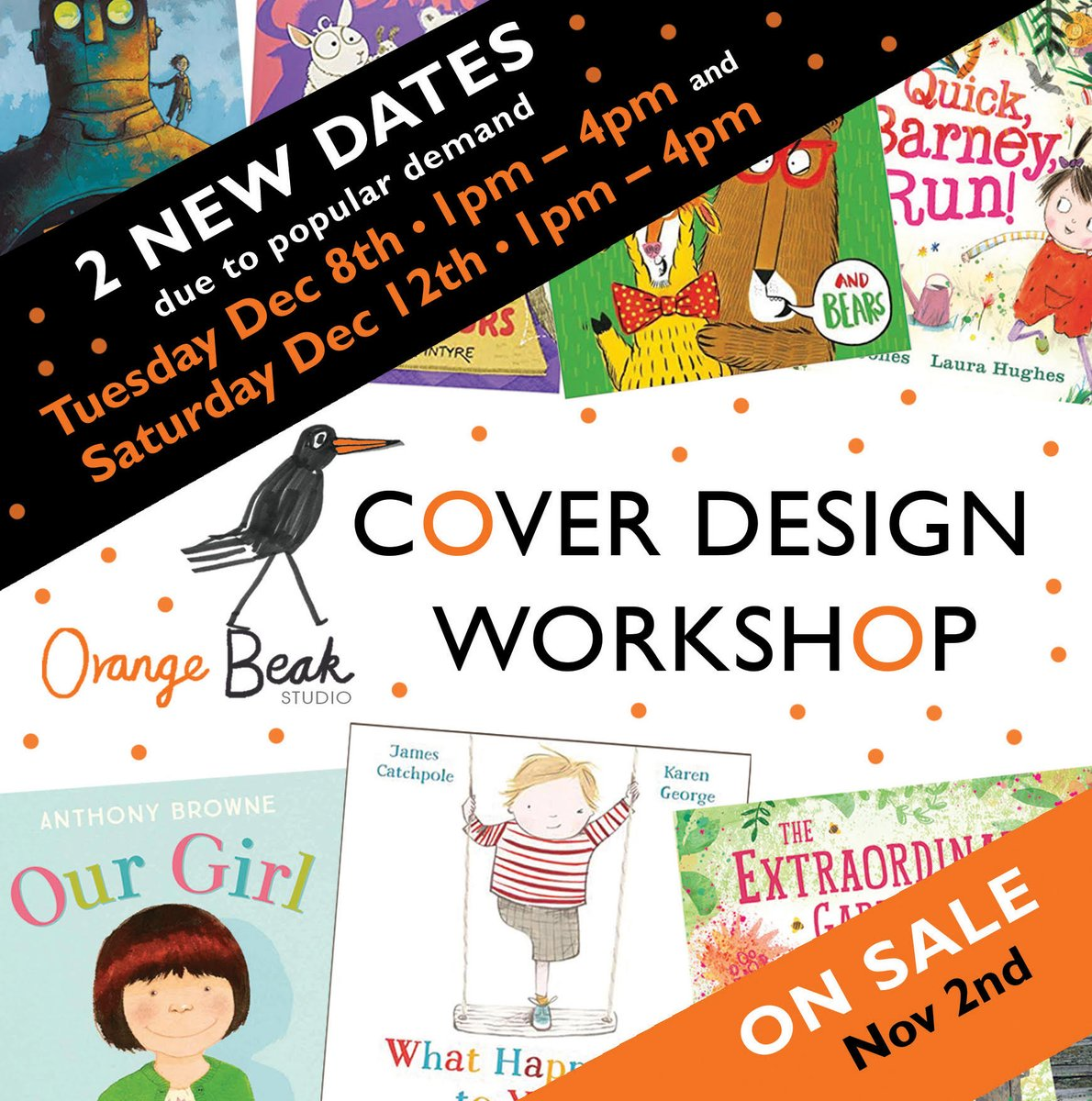 Thank you so much for sharing @jabberworks For anyone interested our next cover design workshops are going to be on 8th and 12th December. Tickets will be on sale from 10am on 2nd November! #coverdesign #picturebooks https://t.co/Cg9Nm6yTrI https://t.co/mcXTUoi0mb