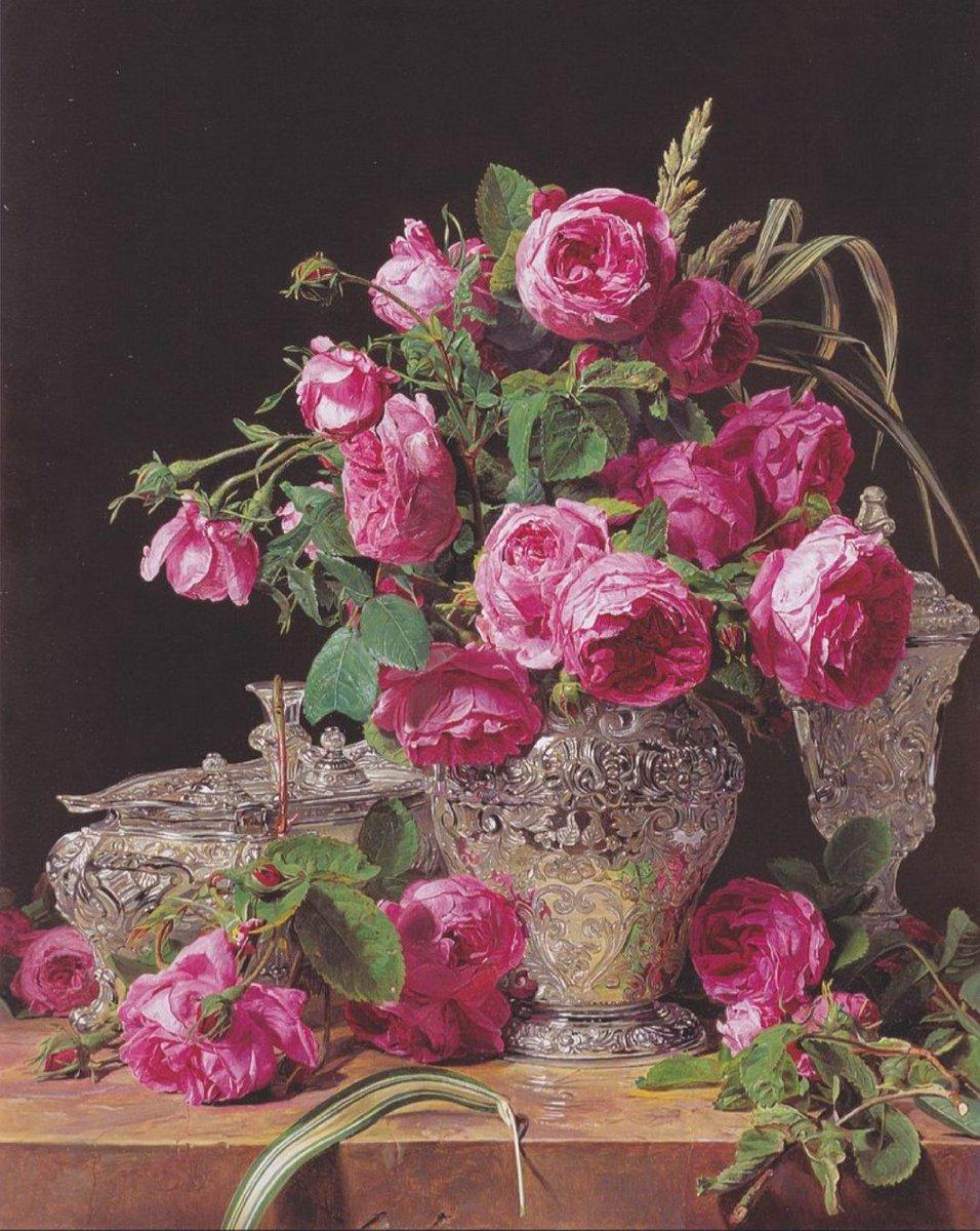 Roses by Ferdinand Georg Waldmüller, 1843. Dimensions: 48 x 39 cm. Medium: Oil on panel. #LOONA #이달의소녀 @loonatheworld