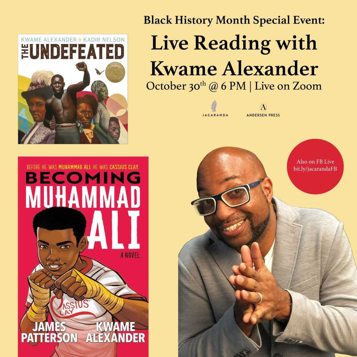 .@AndersenPress and @JacarandaBooks partner for an author reading event celebrating Black History Month, with @kwamealexander, promising two incredible works for the whole family to enjoy during this half term break! bit.ly/35vLNCK