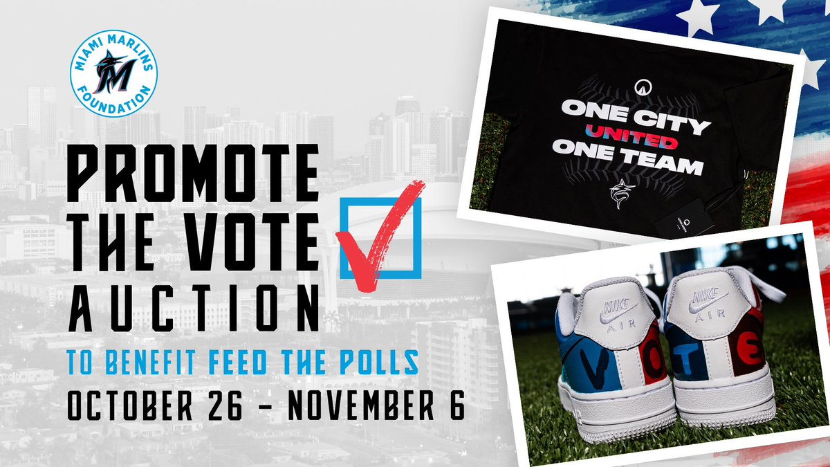 One City, One Team, United. We're collaborating with @unknwn to support the Feed The Polls Initiative. You can now bid and buy items: marlins.com/promotethevote…. Proceeds will provide 2K meals at polling locations in Liberty City and Little Havana on Election Day. #MarlinsImpact
