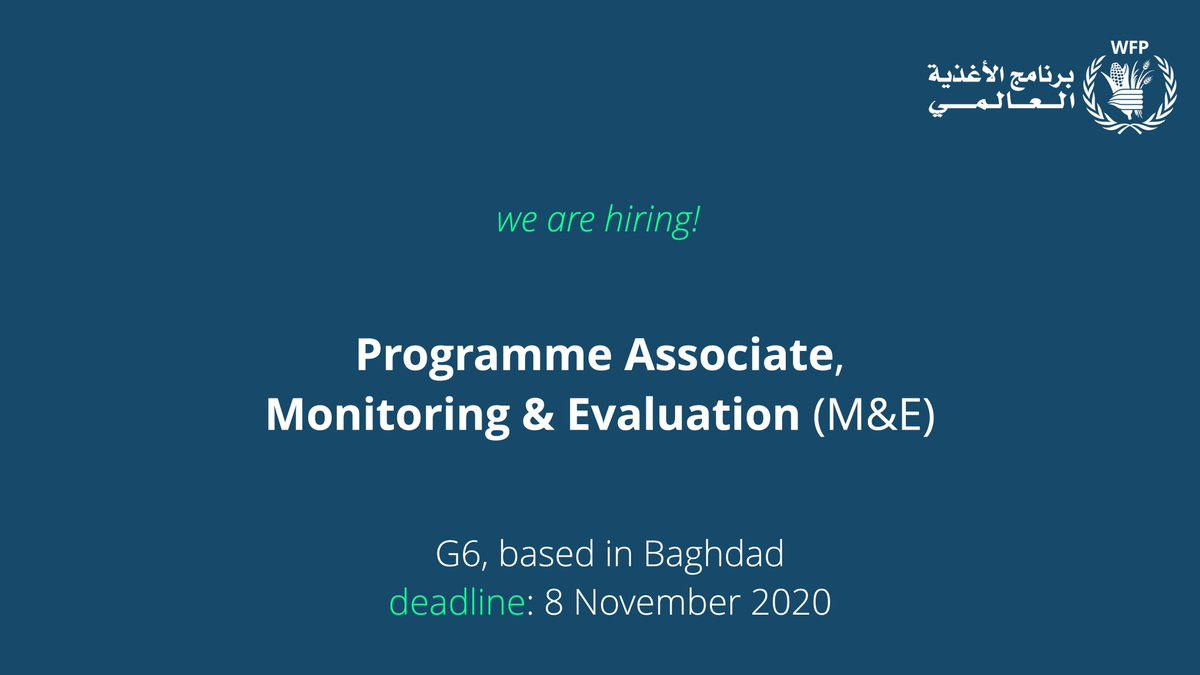 ℹ️ See our latest WFP opportunity below! Apply now to join us. Full details: 📝Programme Associate, Monitoring & Evaluation (M&E) career5.successfactors.eu/sfcareer/jobre…