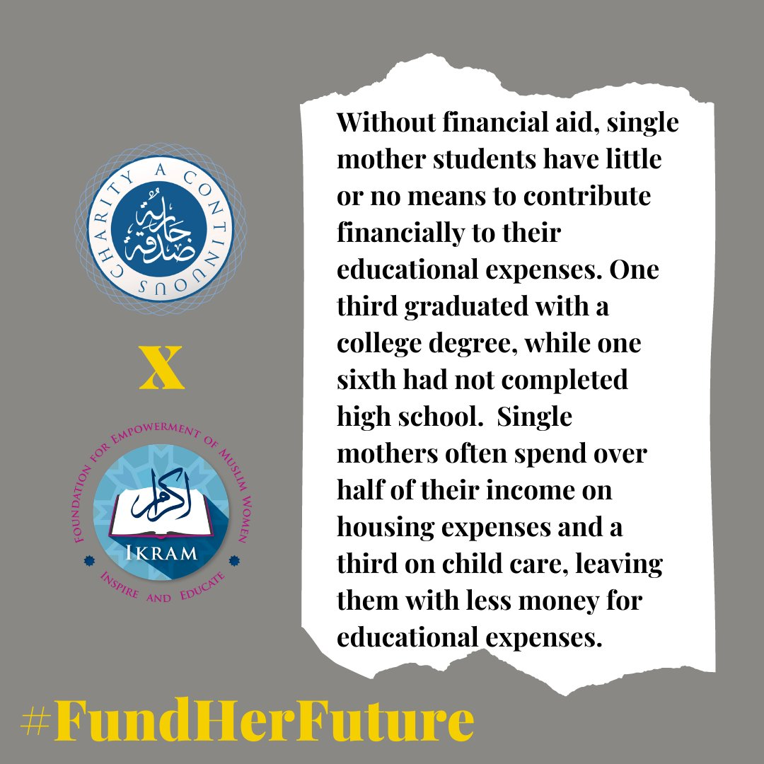 Financial aid is an option that most students have to have access to a college education. #FundHerFuture   #AContinuousCharity #ACC #Education #MuslimCommunity #Charity #staytuned #Women #empowerwomen #DomesticViolenceAwareness #DomesticViolence #AbuseSurvivor https://t.co/0RZBqoKsLn