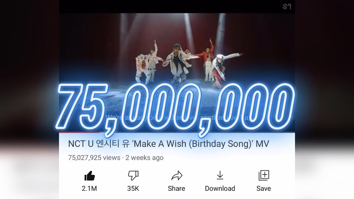 🎊NCT U's 'Make a Wish (Birthday Song)' MV has now reached 75M views on YouTube!🥳 Let's keep working hard for our new 80M goal!   🔗 https://t.co/AuDGTTsei6  #MakeAWishTo100M #NCT2020_MakeAWish #NCT #NCT2020_RESONANCE @NCTsmtown @NCTsmtown_127 @NCTsmtown_DREAM @WayV_official https://t.co/7F2tRr7Mwu