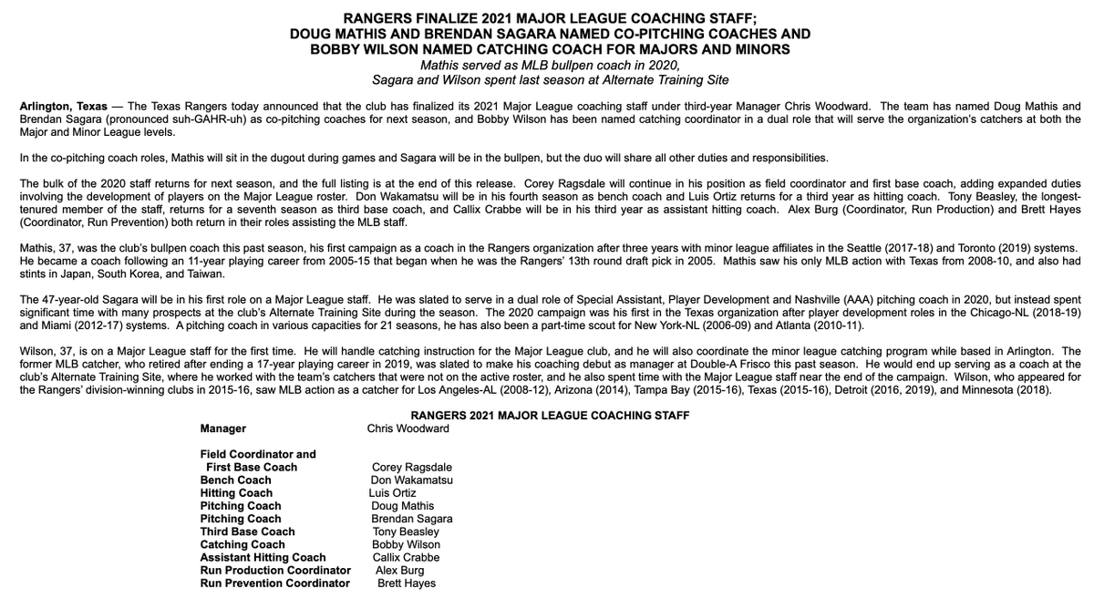 The Rangers have finalized their 2021 coaching staff, including the announcement of co-pitching coaches. https://t.co/7Yw4AuPXhs