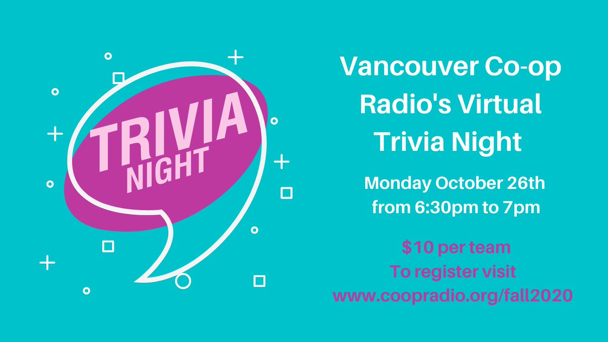 Looking for something to do tonight?😀  Join @coopradio for a fun virtual trivia night, 6:30-7pm. Test out your general knowledge, local music expertise and Co-op Radio knowledge! Register by visiting https://t.co/lEFiBWFFmv  #coopradio #vancouver #supportlocal #yvr #trivia #win https://t.co/N7Xku4Ba4g