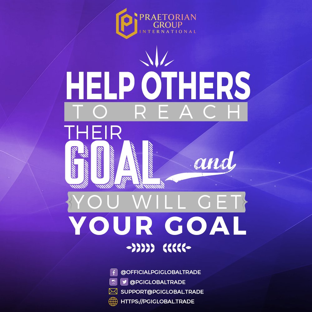 Help Others to reach their goal and you will get your goal!  #PGI #PraetorianGroupInternational #pgiglobal #PGITeamNigeria #wednesdaywisdom #wednesdaymotivation #wednesdayfeels #brightwednesday #Wellnesswednesday   @PGIGlobalTrade https://t.co/aye2sGiFCB