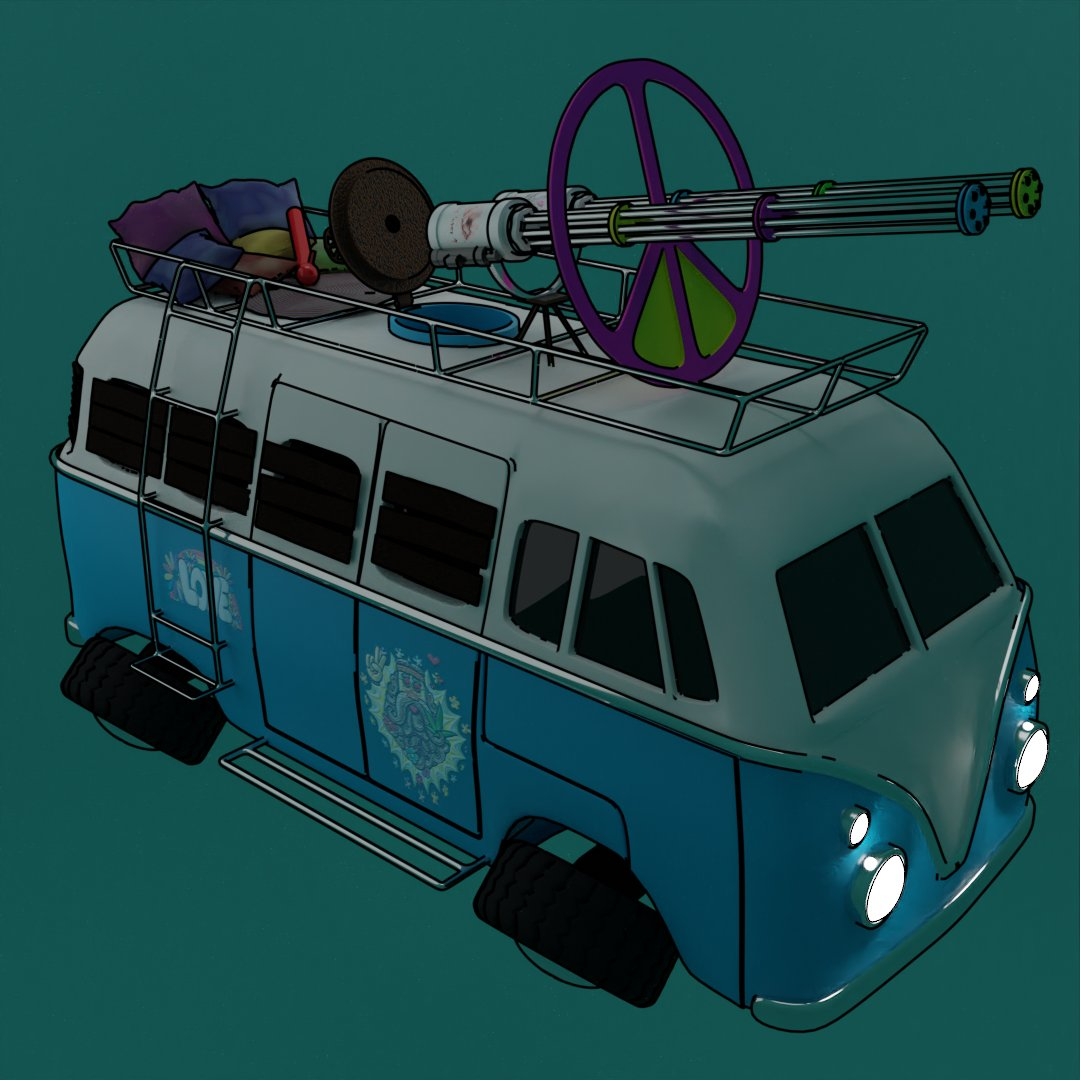 Hippie bus  Part6  #3D #blender #beginner #Volkswagen #t1 #hippiebus https://t.co/MgAV3HesUG