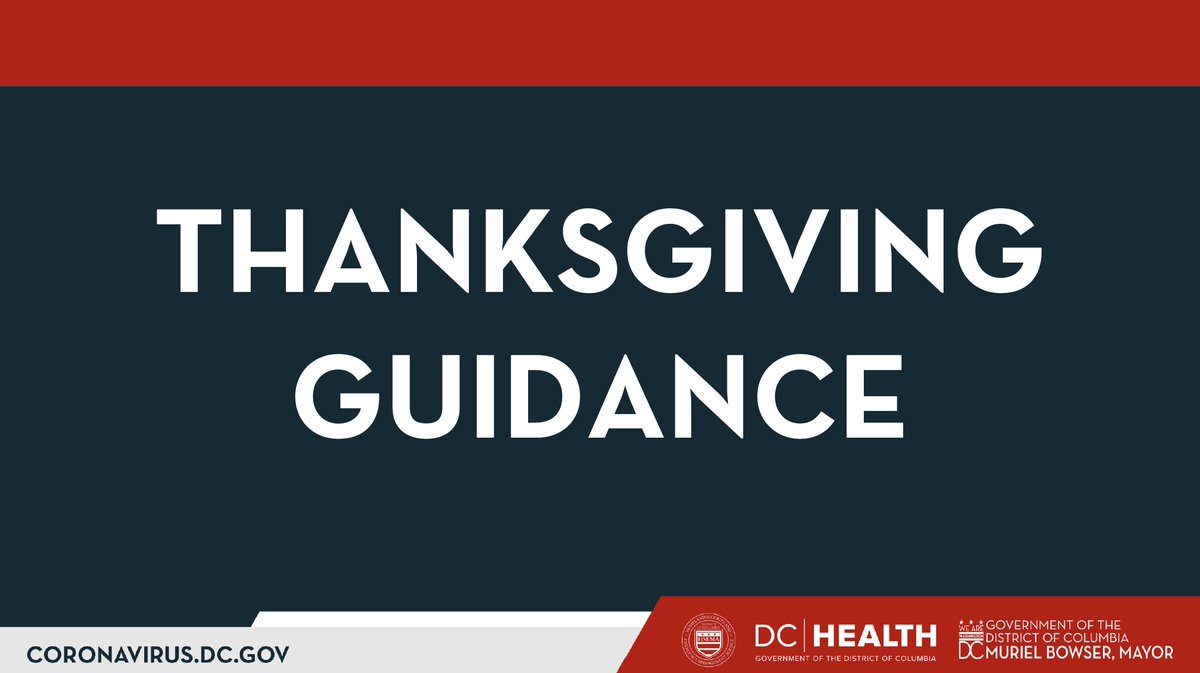 5/ This Thanksgiving, avoid:  -Traveling outside the Capitol Region to states w/ higher COVID-19 rates than DC -Attending or hosting large indoor gatherings w/ people from outside your household -Attending sporting events or parades -In-person shopping with crowds https://t.co/waAX9YrXdX