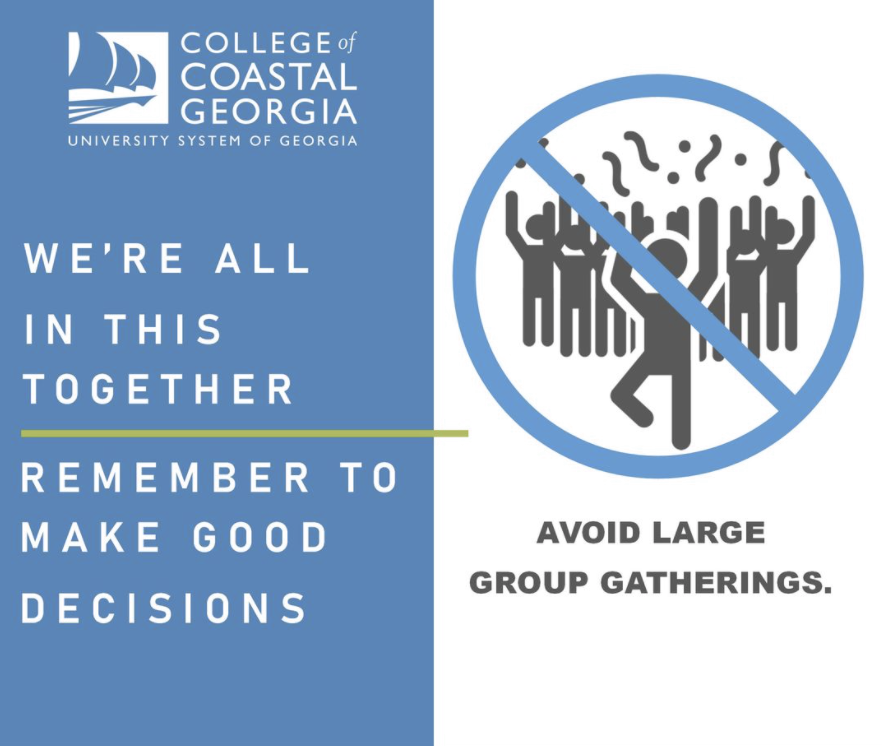 Avoiding large group gatherings is key in helping to slow the spread of COVID-19. Let's continue to do our part!   #CoastalGeorgia #Mariners https://t.co/ESwYf7WOKW