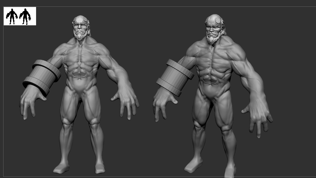 Update 1# #policount  #Hellboy #zbrush #3d #cgi #modeling #characters #sculpture https://t.co/iQOGTj48cA