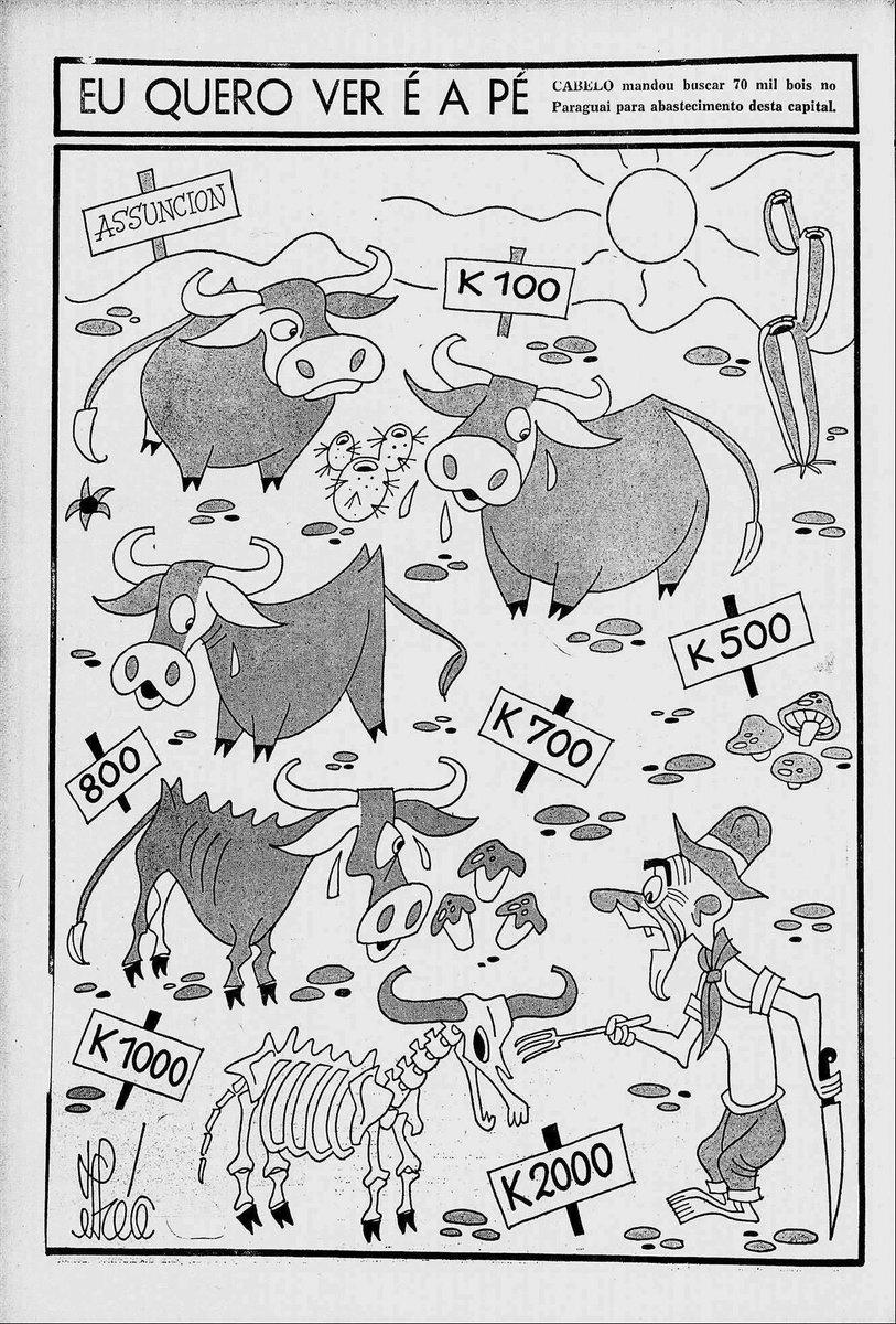 """Caricatura crítica de la compra de ganado paraguayo """"a pie"""" para consumo en el mercado brasilero, en una época donde todavía no se concretaba la conexión vía carreteras pavimentadas. #Historia #Paraguay #Brasil  FUENTE: Revista da Semana, Río de Janeiro: 10 de noviembre de 1951. https://t.co/8VM3PNPZxH"""