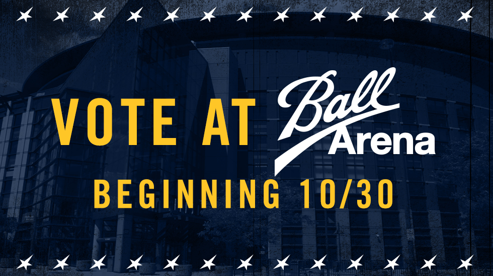 In addition to in-person voter registration and voting services, there will also be a drive-through drop-off and curbside ballot pick-up service at @BallArenaDenver!  More info: https://t.co/bEzwsrTKb1 https://t.co/aQErPyKGNJ