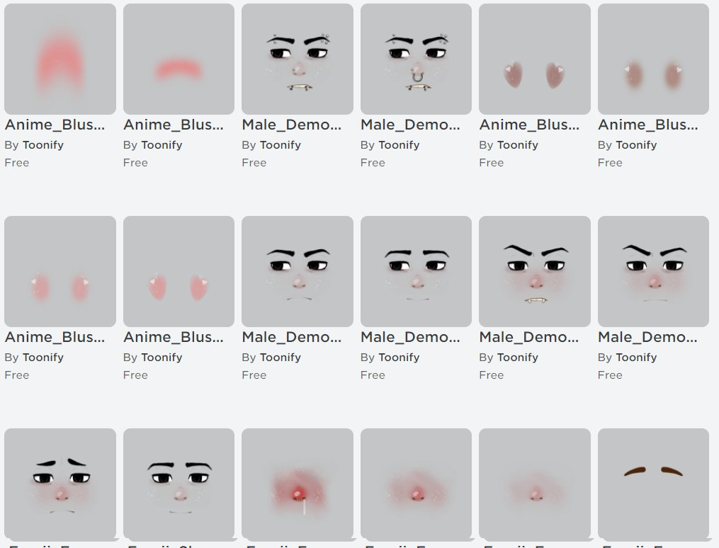 Toonify on Twitter: A lot of roblox decal faces that are free for